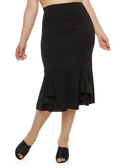 Plus Size Flounce Hem Pencil Skirt - 1962062708770