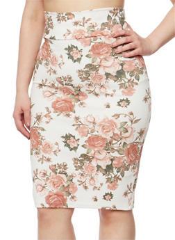 Plus Size Floral Knit Pencil Skirt - IVORY - 1962063400014