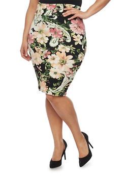 Plus Size Floral Midi Pencil Skirt - 1962063400028