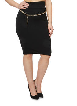 Plus Size Pencil Skirt with Chain Link Belt - 1962063407284