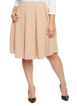 Plus Size Pleated Skater Skirt - KHAKI - 1962069390011
