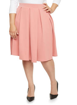 Plus Size Pleated Skater Skirt - 1962069390011