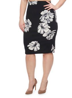 Plus Size Textured Knit Floral Pencil Skirt - 1962069390018