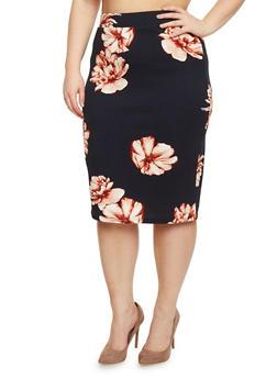 Plus Size Textured Knit Floral Pencil Skirt - 1962069390018
