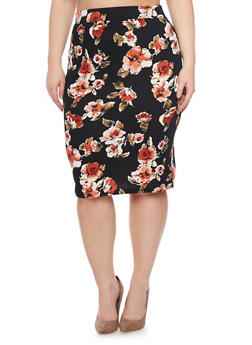 Plus Size Textured Knit Floral Pencil Skirt - 1962069390095