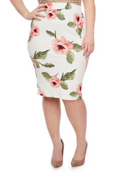 Plus Size Floral Pencil Skirt - 1962069390507