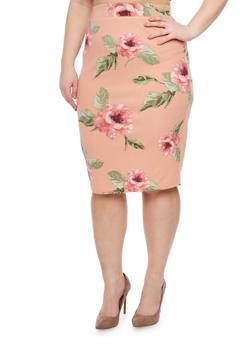 Plus Size Floral Pencil Skirt - 1962069390507