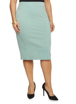 Plus Size Solid Ponte Knit Pencil Skirt - 1962069391009