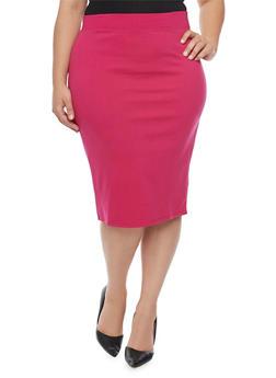 Plus Size Solid Ponte Knit Pencil Skirt - 1962069391009