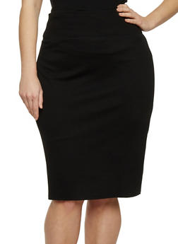 Plus Size Ponte Knit Pencil Skirt with Back Slit - 1962069391010