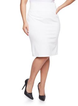 Plus Size Ponte Knit Pencil Skirt with Back Slit - WHITE - 1962069391010