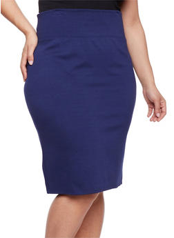 Plus Size Ponte Knit Pencil Skirt with Back Slit - 1962069391010