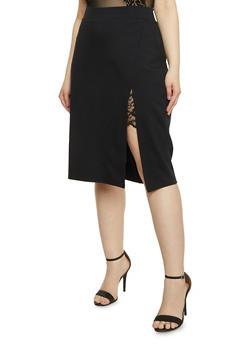 Plus Size Lace Slit Detail Pencil Skirt - BLACK - 1962069391043