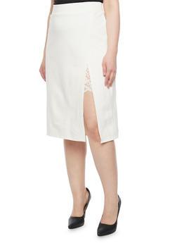 Plus Size Lace Slit Detail Pencil Skirt - WHITE - 1962069391043
