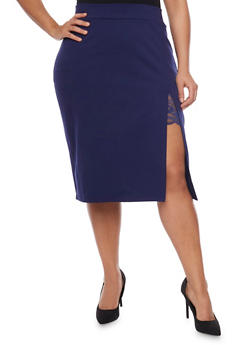 Plus Size Lace Slit Detail Pencil Skirt - 1962069391043