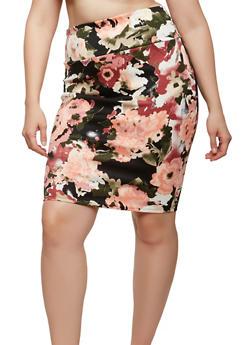 Plus Size Floral Pencil Skirt - 1962070471631