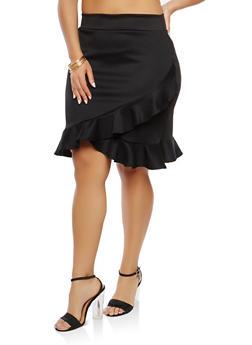 Plus Size Asymmetrical Hem Skirt - 1962070473328
