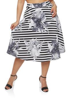 Plus Size Striped Floral Skater Skirt - 1962070475228