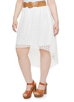 Plus Size High Low Skirt with Layered Lace and Chunky Belt - 1962072240063