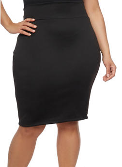 Plus Size Solid Zip Back Pencil Skirt - 1962072240094