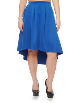 Plus Size Scuba Knit Pleated High Low Skirt,RYL BLUE,medium