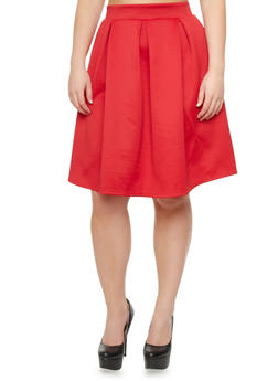 Plus Size Scuba Knit Midi Skirt,RED,medium