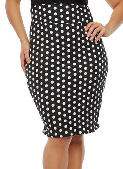 Plus Size Soft Knit Printed Pencil Skirt - BLACK-RED' - 1962074016151