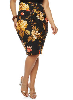 Plus Size Soft Knit Printed Pencil Skirt - BLK-IVORY - 1962074016151