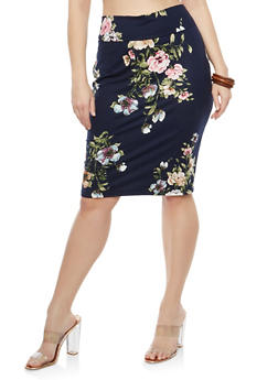Plus Size Soft Knit Printed Pencil Skirt - NAVY-PINK - 1962074016151