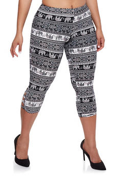 Plus Size Elephant Print Capri Leggings - 1965001440005