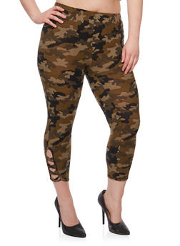Plus Size Camo Capri Leggings with Lattice Detail - 1965001440015