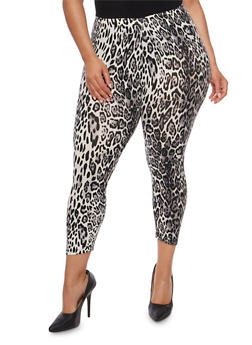 Plus Size Leopard Print Capri Leggings - 1965001440069