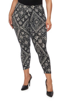 Plus Size Abstract Print Cropped Pants - 1965001440097
