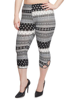 Plus Size Printed Capri Leggings with Cutouts - 1965001440272