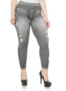 Plus Size Seamless Denim Print Leggings,BLACK,medium
