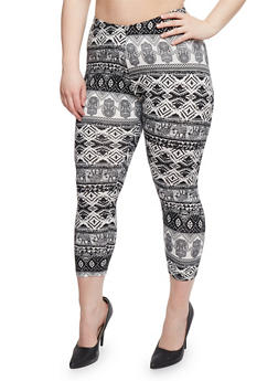 Plus Size Multi Printed Capri Leggings - 1965001441269