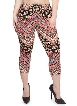 Plus Size Printed Capri Leggings with Lattice Cutout - 1965001441272