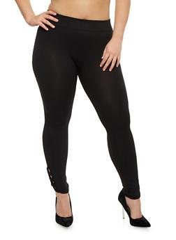 Plus Size Leggings with Lattice Hem - 1965001441289