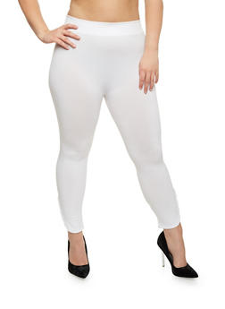 Plus Size Leggings with Lattice Hem - WHITE - 1965001441289
