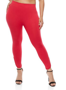 Plus Size Leggings with Lattice Hem - 1965001441289