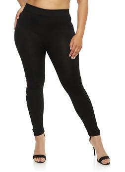 Plus Size Leggings with Lasercut Sides - 1965001441290