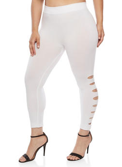Plus Size Leggings with Laser Cut Sides - WHITE - 1965001441290