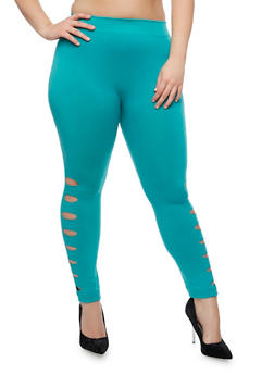 Plus Size Leggings with Laser Cut Sides - 1965001441290