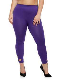 Plus Size Solid Leggings with Criss Cross Cutout - 1965001441291