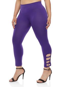 Plus Size Leggings with Lattice Detail - 1965001441292