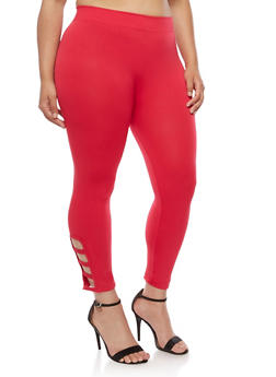Plus Size Leggings with Lattice Detail - 1965001441292