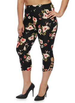 Plus Size Floral Capri Leggings with Lattice Detail - 1965001442700