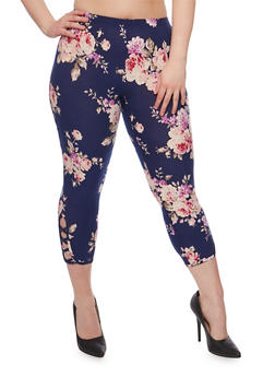 Plus Size Floral Capri Leggings with Lattice Detail - 1965001442715