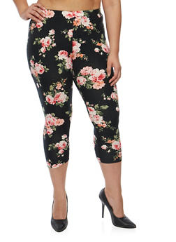 Plus Size Floral Capri Leggings - 1965001449122