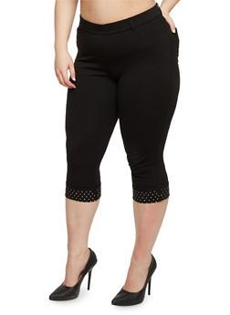 Plus Size Capri Pants with Studded Hem - 1965056570320